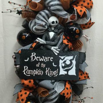 Halloween Swag, Halloween Wreath, Halloween Mesh Wreath, Nightmare Before Christmas, Jack Skellington Swag
